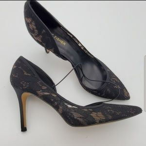 MARC FISHER BLACK FABRIC LACE HEELS SHOES SZ 8.5